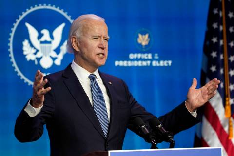 President-elect Joe Biden speaks during an event at The Queen theater in Wilmington, Del., Thur ...