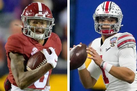 Alabama, with Heisman Trophy-winning wide receiver DeVonta Smith, left, will face quarterback J ...