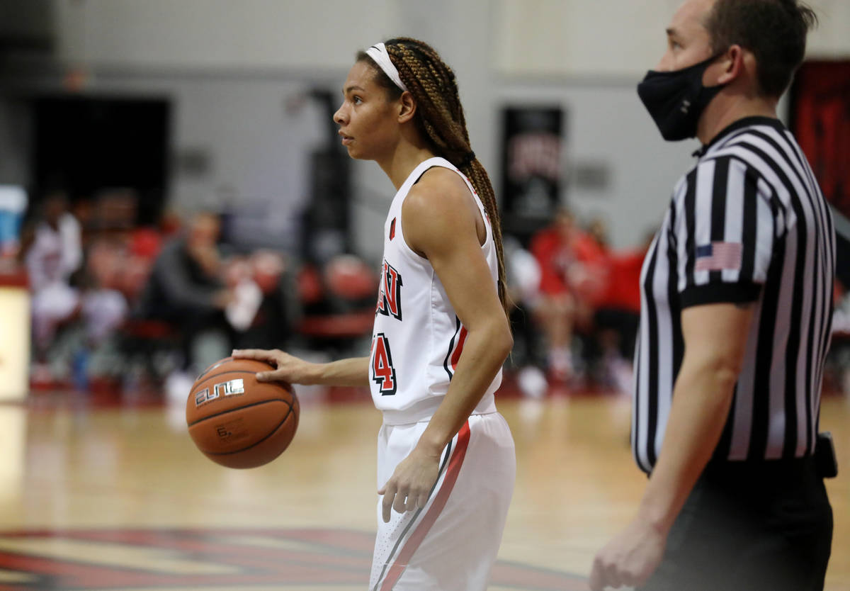 UNLV Lady Rebels guard Bailey Thomas makes is seen during a game against Colorado State Univers ...