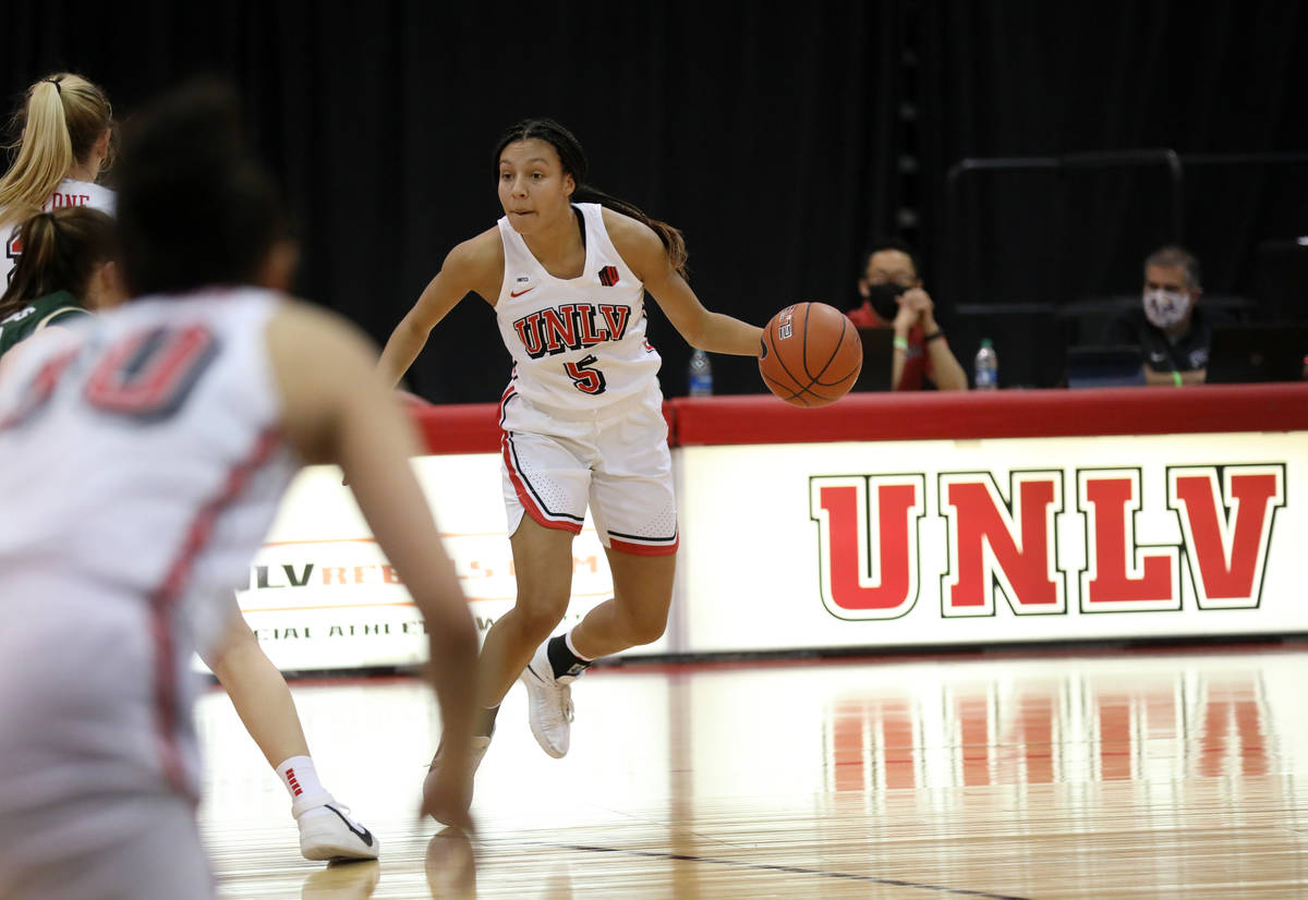 UNLV Lady Rebels guard Jade Thomas (5) plays against Colorado State University at Cox Pavilion ...