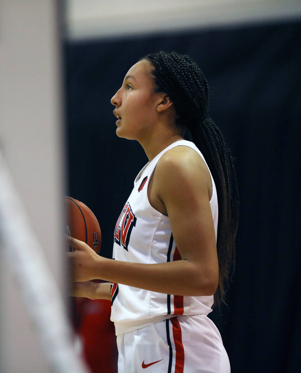 UNLV Lady Rebels guard Jade Thomas (5) is seen warming up for the second half against Colorado ...