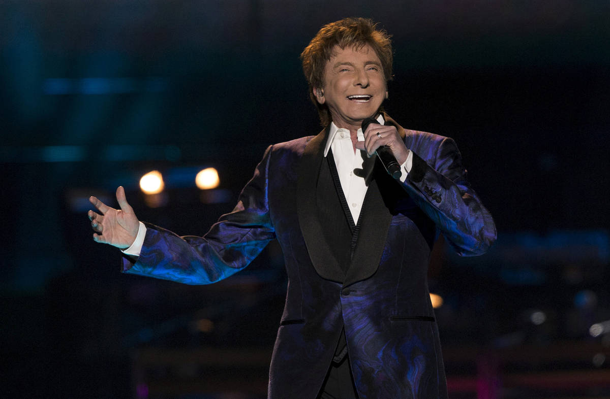 """Barry Manilow performs during his """"One Last Time! Tour"""" at Staples Center in Los Angeles on Apr ..."""