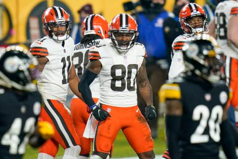 Cleveland Browns wide receiver Jarvis Landry (80) celebrates after scoring on a 40-yard pass pl ...
