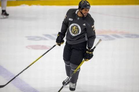 Golden Knights right wing Ryan Reaves (75) skates during training camp on Wednesday, Jan. 6, 20 ...