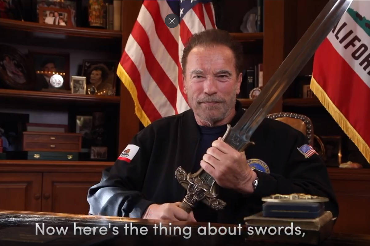 This Sunday, Jan. 10, 2021, image from a video released by Schwarzenegger shows former Republic ...