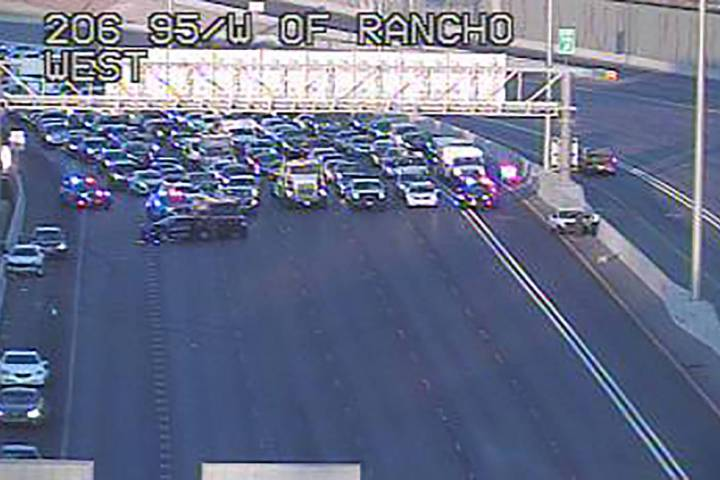 A Nevada Highway Patrol unit as U.S. 95 blocked for a vehicle collision about 7:05 a.m. Monday, ...