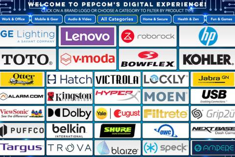 The home screen during CES Pepcom virtual event that featured 55 brands and their latest produc ...