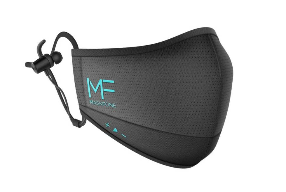 The MaskFone includes a built in microphone, headphones, and replaceable PM2.5 and N95/FFP2 fil ...