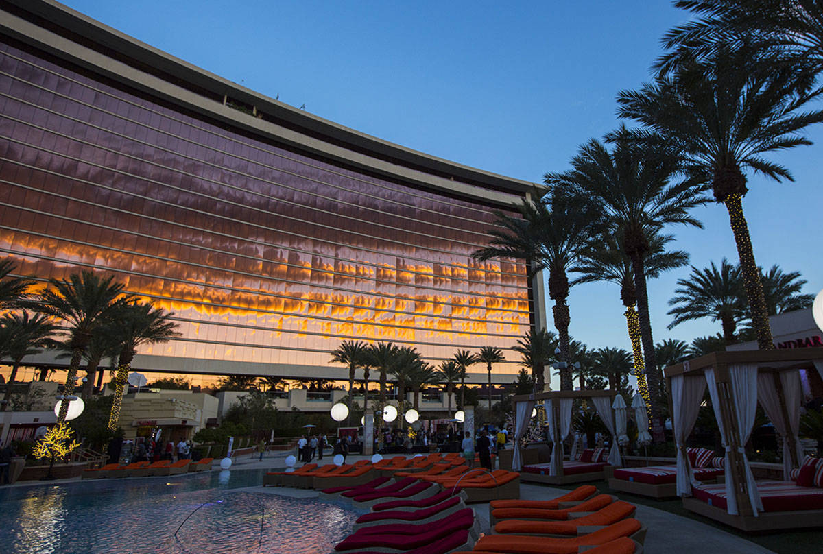 A view of the pool area during UNLVino's Sake Fever event at Red Rock Resort in the Summerlin a ...