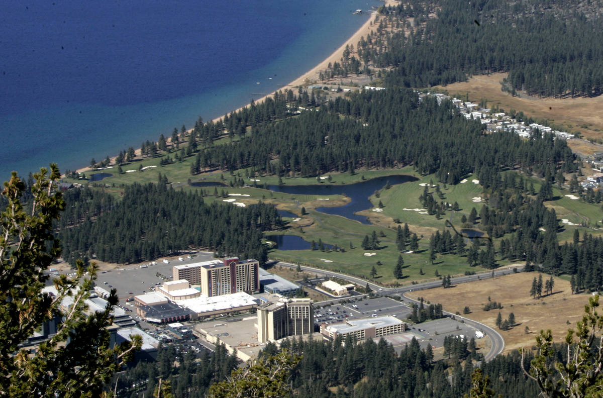 The Tahoe Shores Mobile Home Park, located at Stateline, Nev., is seen in the upper part of th ...