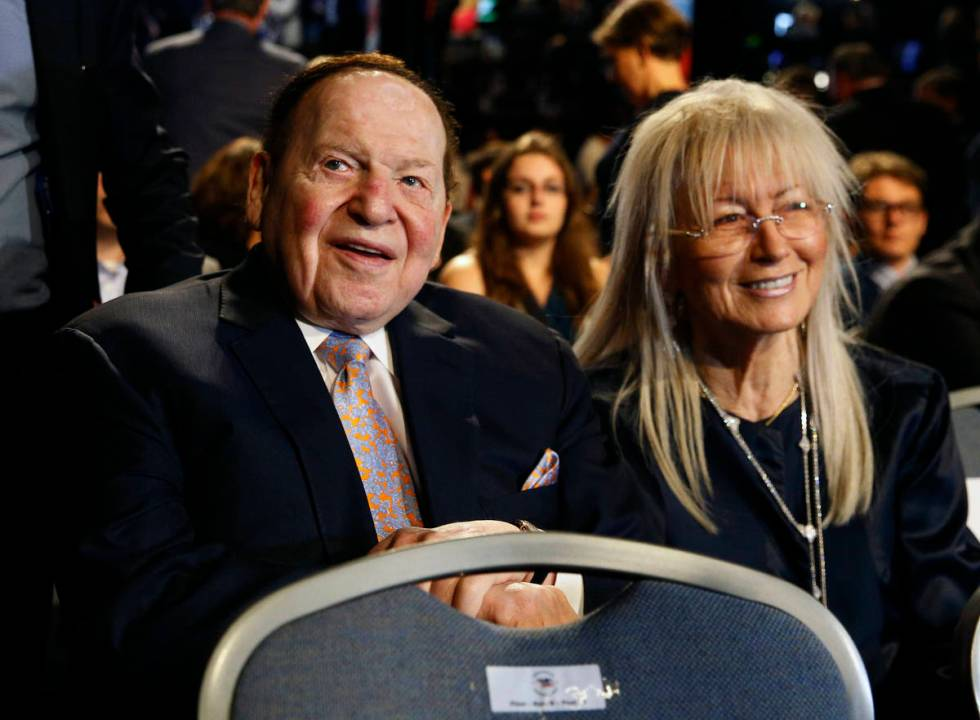 Las Vegas Sands Corp. Chairman and CEO Sheldon Adelson and his wife, Dr. Miriam Adelson, attend ...