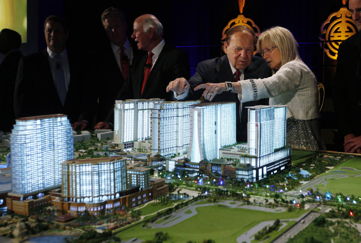 Las Vegas Sands Corp. Chairman and CEO Sheldon Adelson and his wife, Dr. Miriam Adelson, stand ...