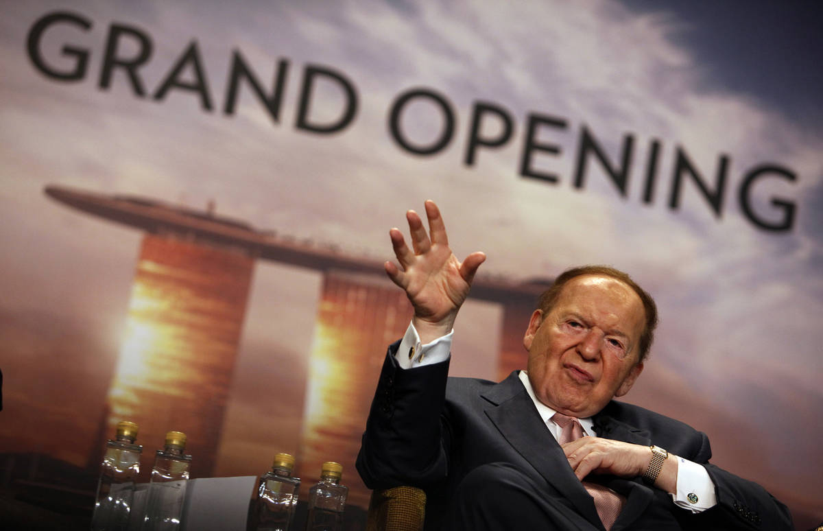 Las Vegas Sands Corp. Chairman and CEO Sheldon Adelson addresses the media during the grand ope ...