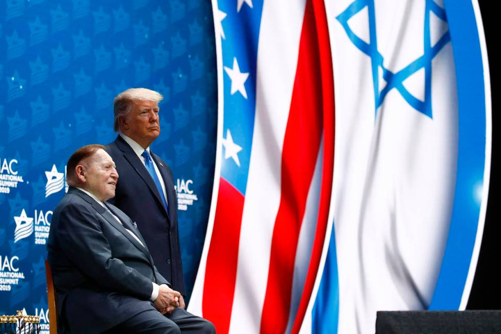 President Donald Trump and Las Vegas Sands Corp. Chairman and CEO Sheldon Adelson address the I ...