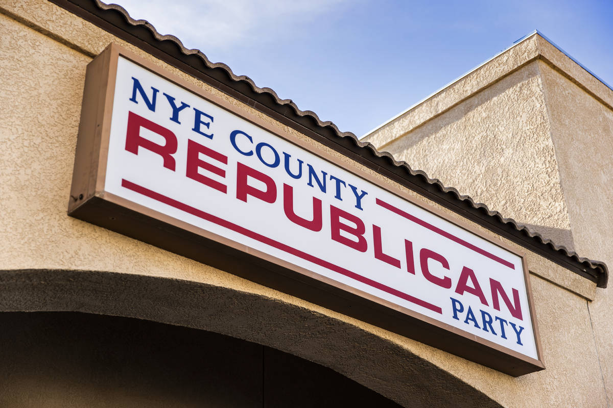 Signage outside the Nye County Republican Central Committee office on Monday, Jan. 11, 2021, in ...