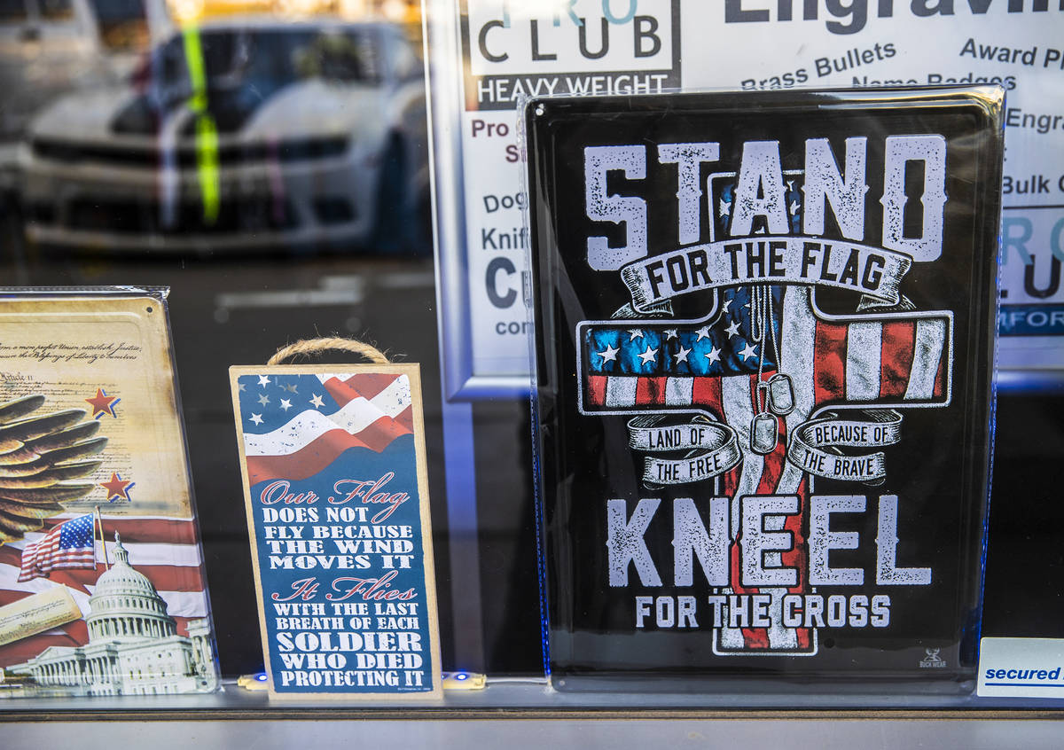 Signage in the storefront of G.I. USA on Monday, Jan. 11, 2021, in Pahrump, Nev. (Benjamin Hage ...