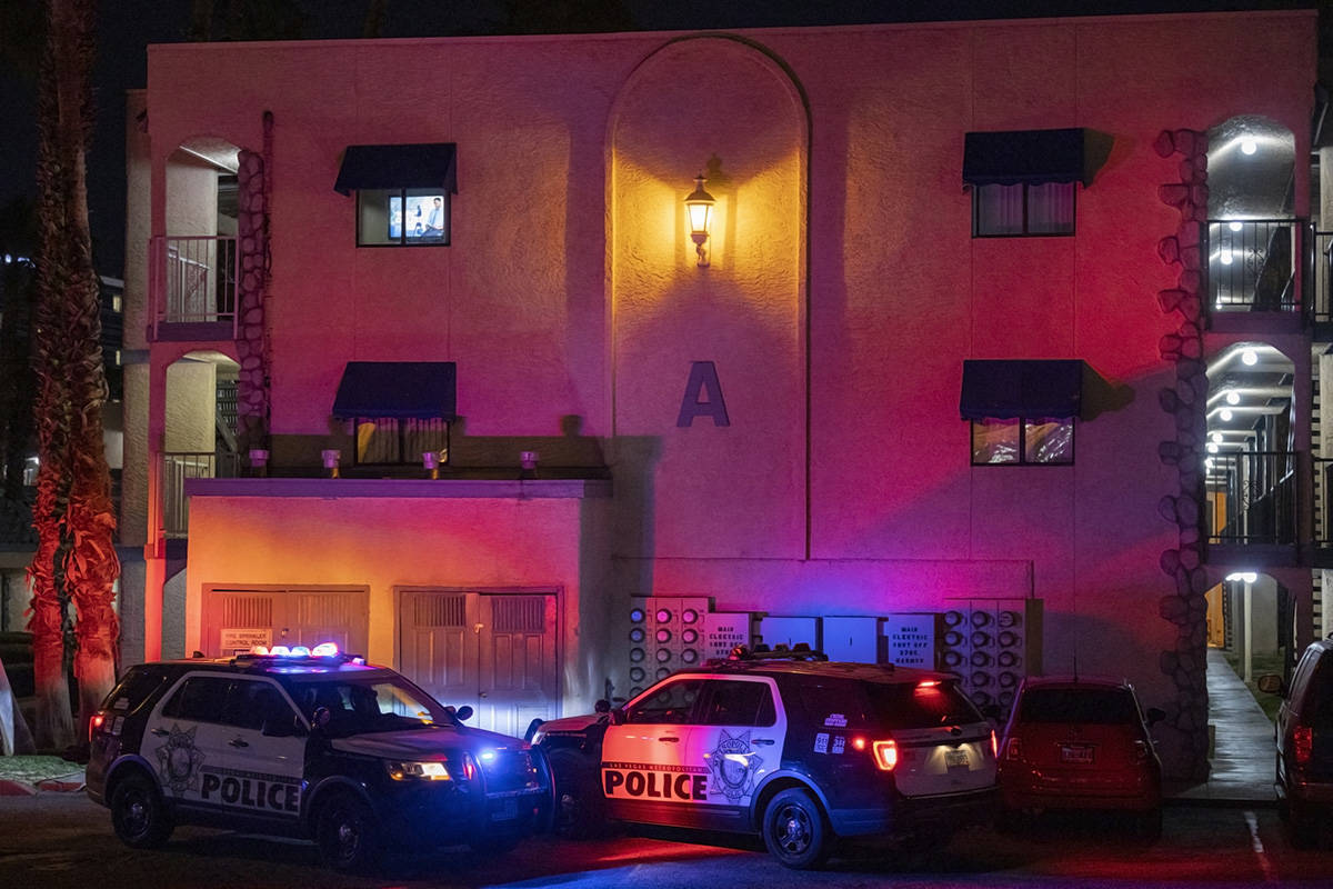 Las Vegas Metro Police Department investigate two homicides at the Harbor Island Apartments, 37 ...