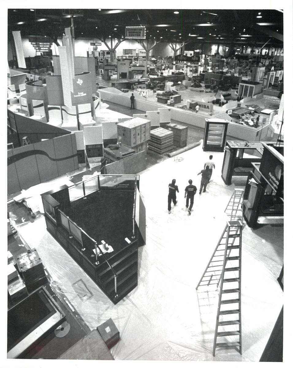 Preparations are made for the 1990 Comdex convention in Las Vegas. The computer trade show pave ...