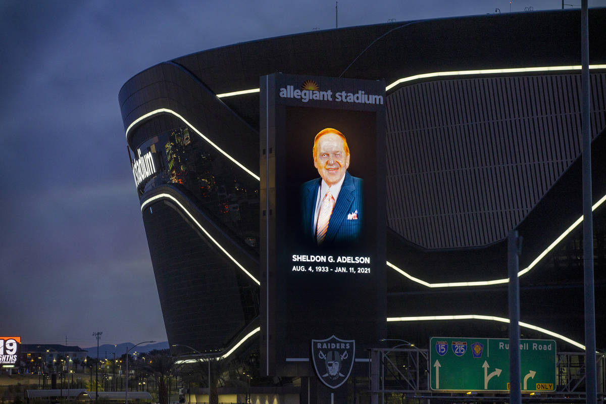 Tribute to Sheldon Adelson on the marquee at Allegiant Stadium on Tuesday, Jan. 12, 2021, in La ...