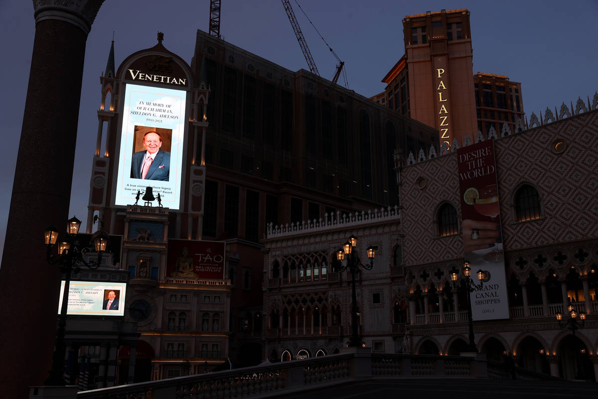 Sheldon Adelson, the late CEO of Las Vegas Sands Corp., is honored on the marquee at The Veneti ...