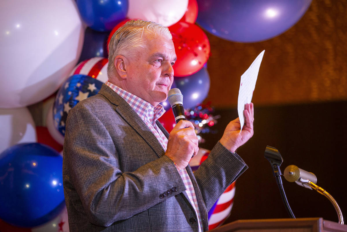 Governor Sisolak offers up a letter he received earlier in the day as he honors wounded veteran ...