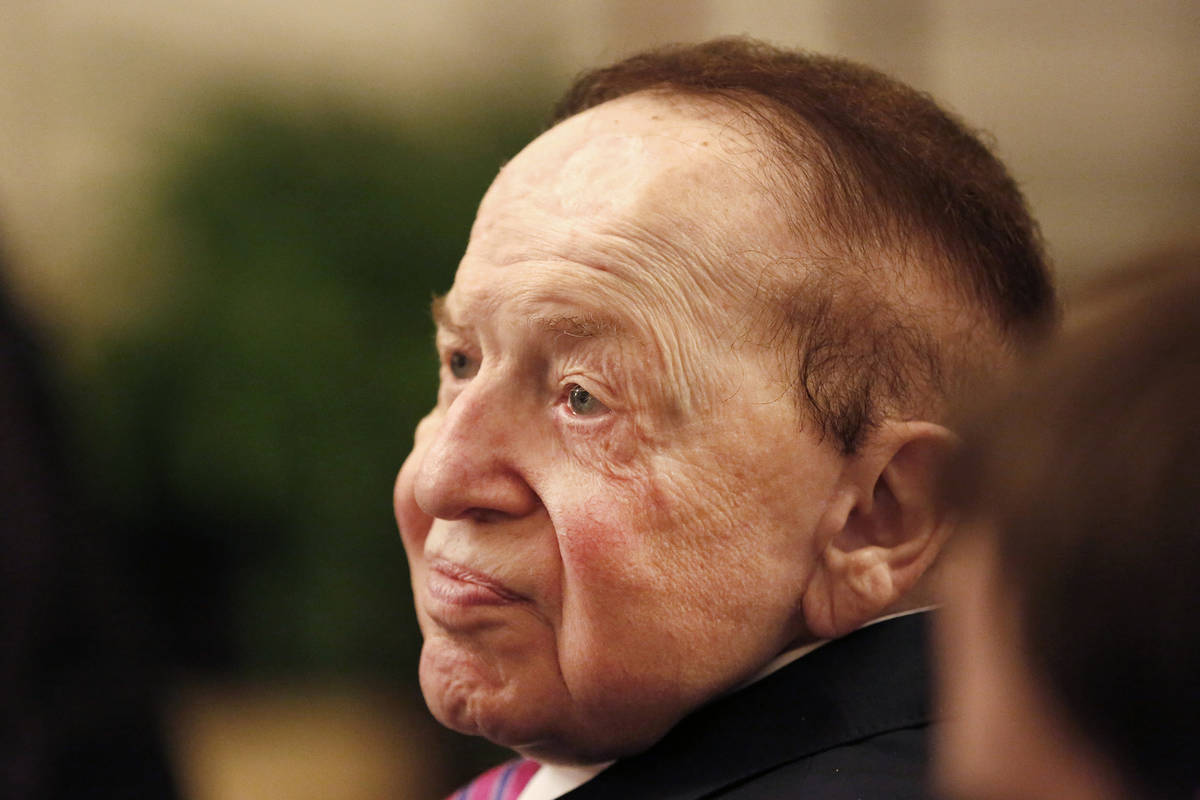 Sheldon Adelson watches President Donald Trump present his wife, Miriam, a Presidential Medal o ...