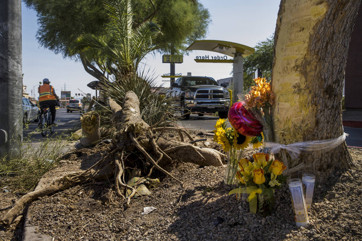 In this Aug. 4, 2020, file photo, a small memorial for two teenagers, Nelly Amaya-Ramirez and C ...