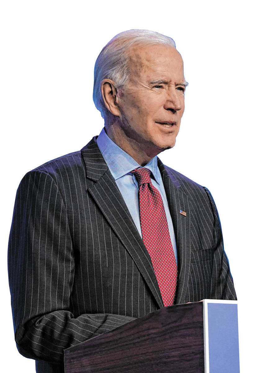President-elect Joe Biden speaks during an event at The Queen theater in Wilmington, Del., Frid ...