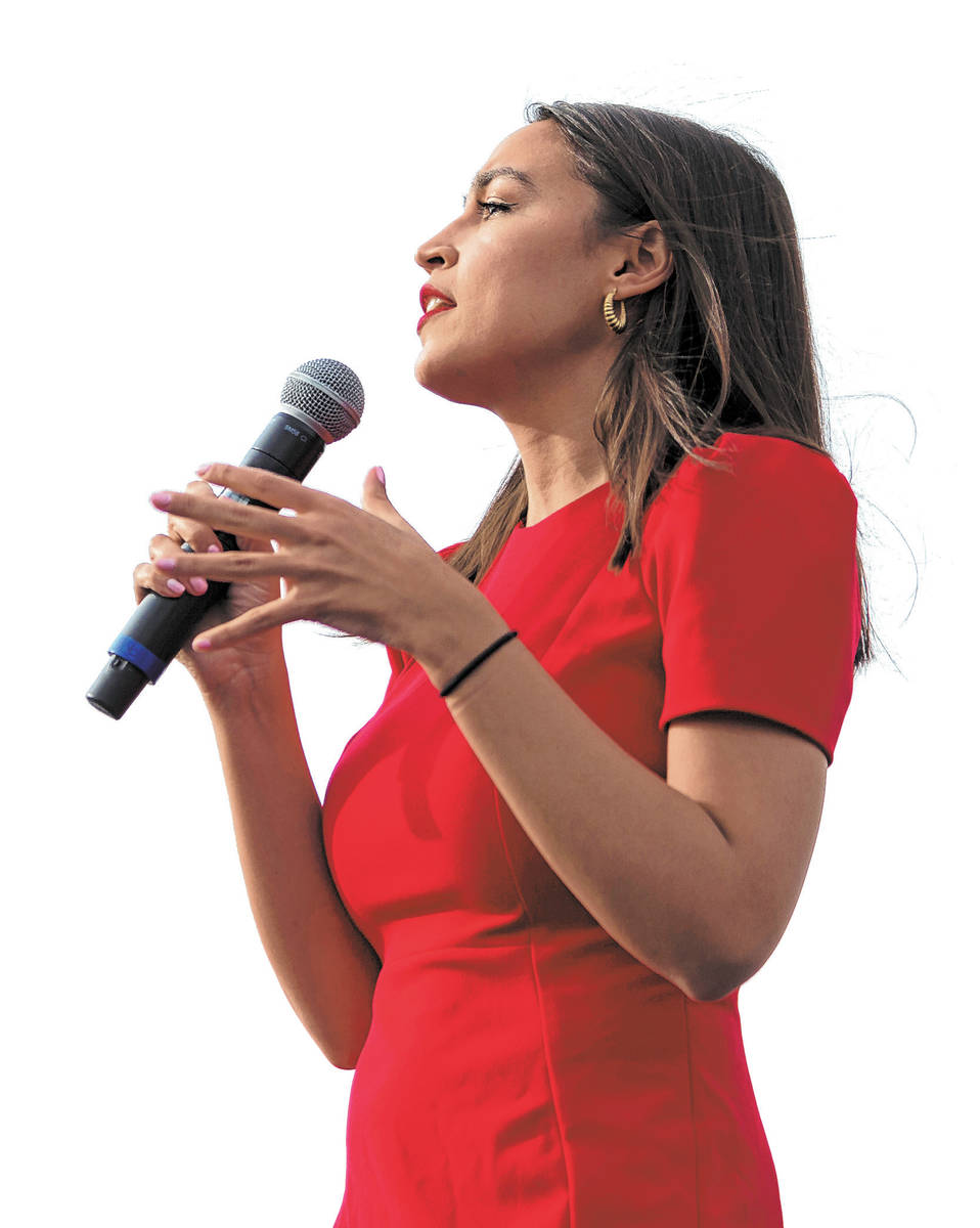 Rep. Alexandria Ocasio-Cortez, D-N.Y., speaks during a rally for Democratic presidential candid ...