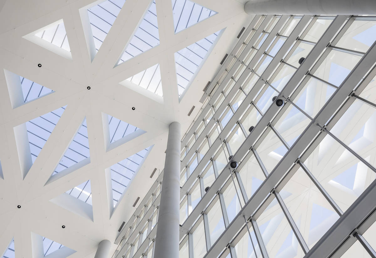The ceiling of the Las Vegas Convention Center West HallÕs main entrance is seen during a ...