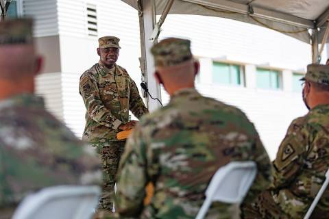 Nevada National Guard Maj. General Ondra Berry addresses the audience at a ribbon cutting cerem ...