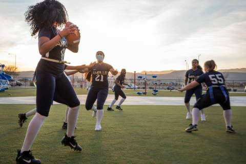 Amplus High School's flag football team, which is one of the two schools playing in the first h ...