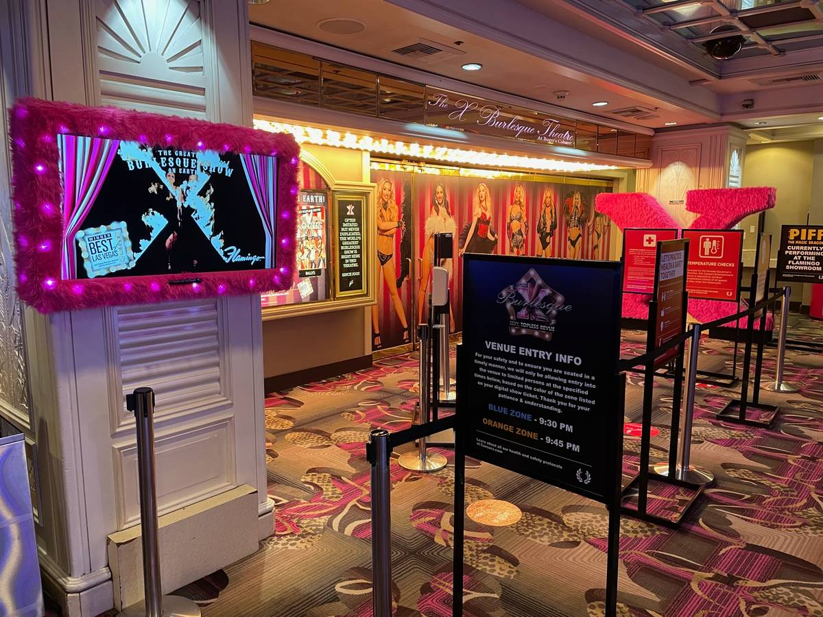 The entrance of X Burlesque Theatre at Flamingo is shown on Thursday, Jan. 9, 2021. (Stabile Pr ...