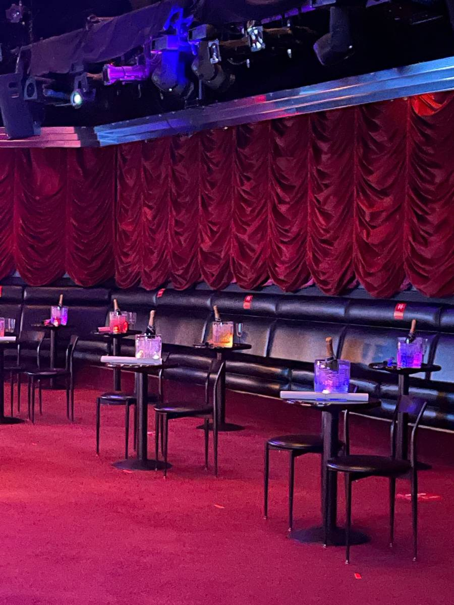 """The seating area, with champagne buckets, is shown at """"X Burlesque"""" at Flamingo on Thursday, Ja ..."""