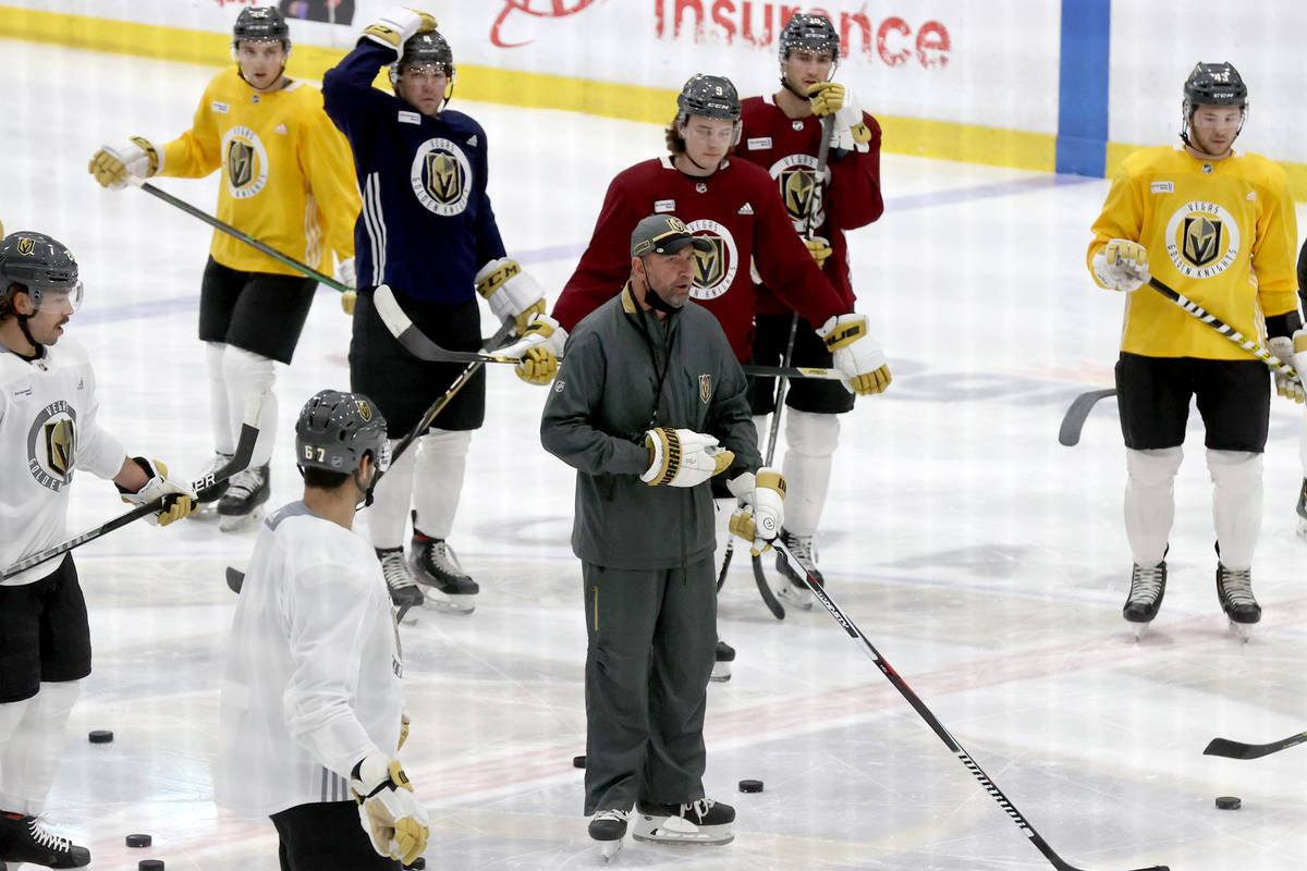 Coach Pete DeBoer during training camp at City National Arena in Las Vegas Tuesday, Jan. 5, 202 ...