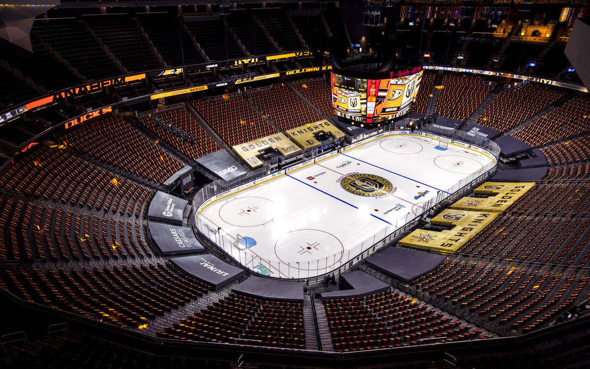 The ice is ready for the Golden Knights before an NHL season-opening game versus the Anaheim Du ...