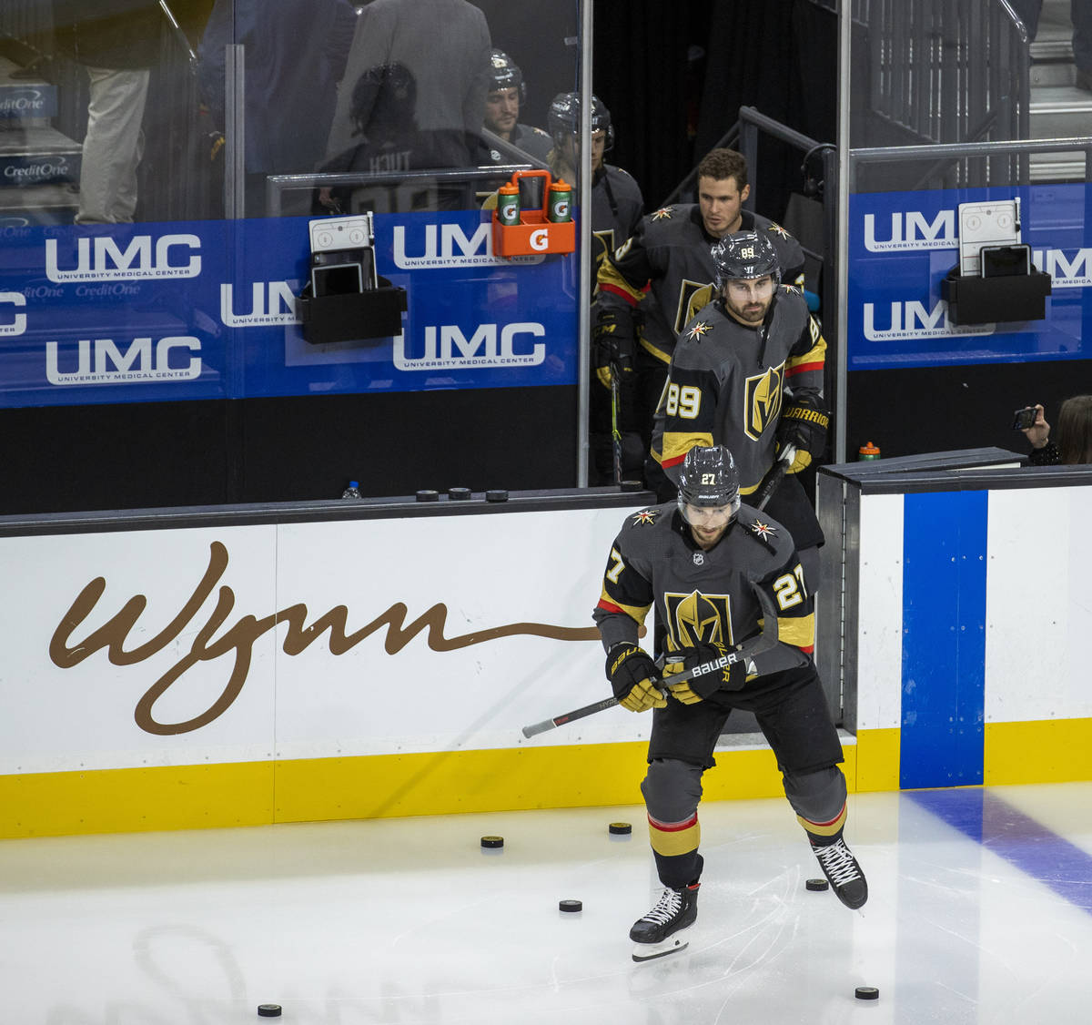 Golden Knights players take the ice during the warm ups of an NHL season-opening game versus th ...