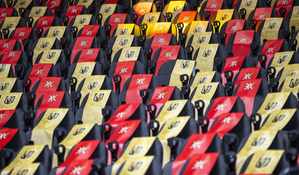 Seats are covered in banners as the Golden Knights battle the Anaheim Ducks during the second p ...