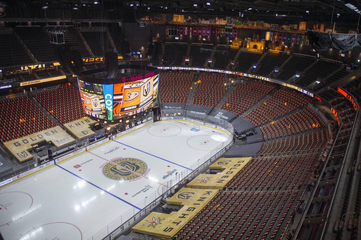 A look inside of T-Mobile Arena before an NHL season-opening game between the Vegas Golden Knig ...