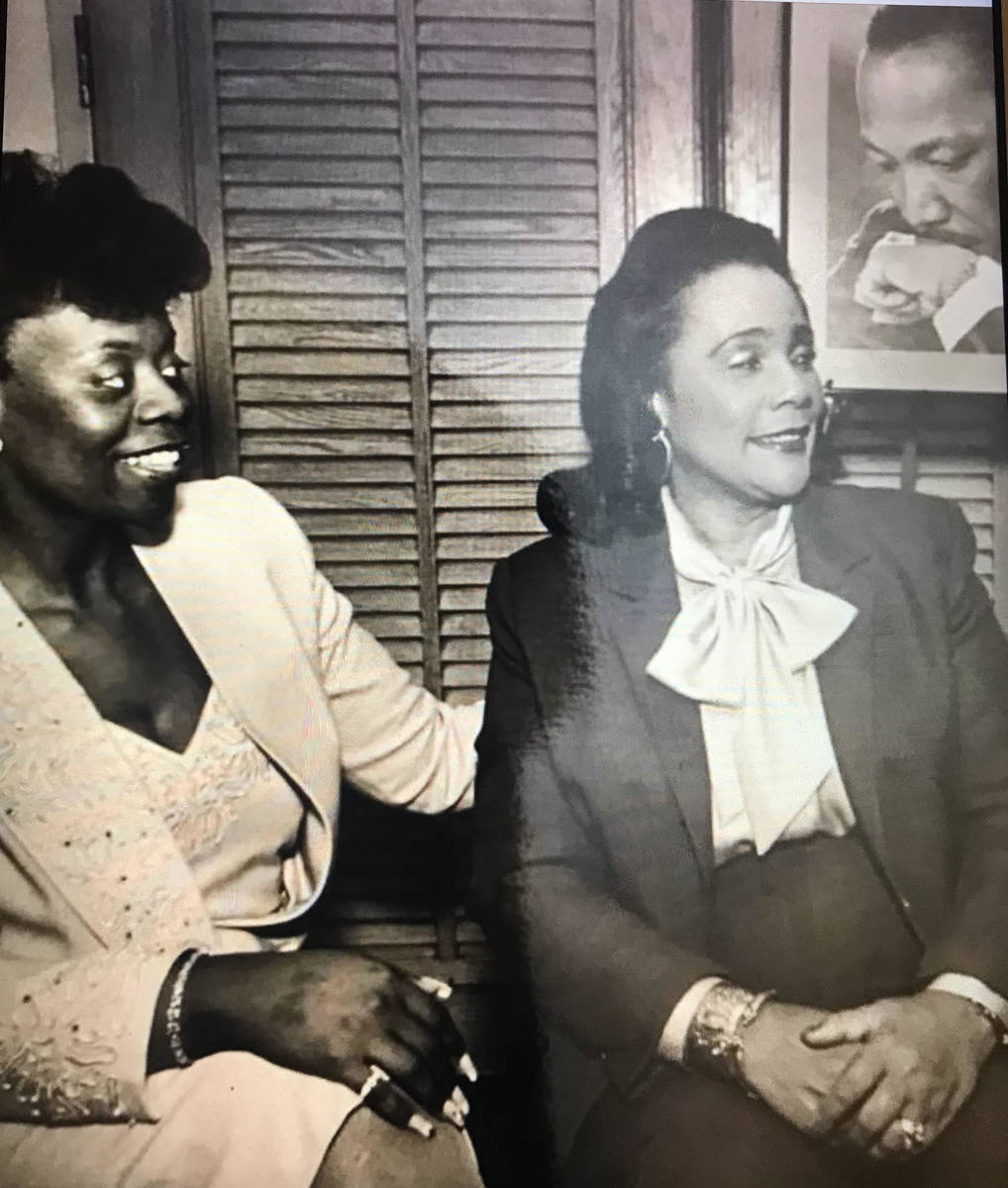 Las Vegan Deloris Sawyer talks with Coretta Scott King in 1987 in Las Vegas. Sawyer was a drivi ...