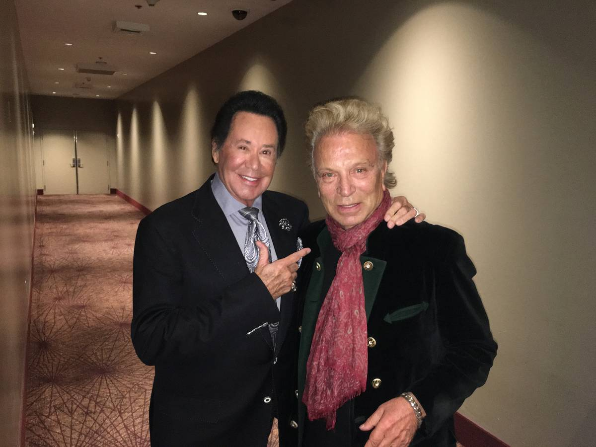 Wayne Newton and Siegfried Fischbacher are shown at the Stratosphere on Feb. 6, 2017. (John Kat ...