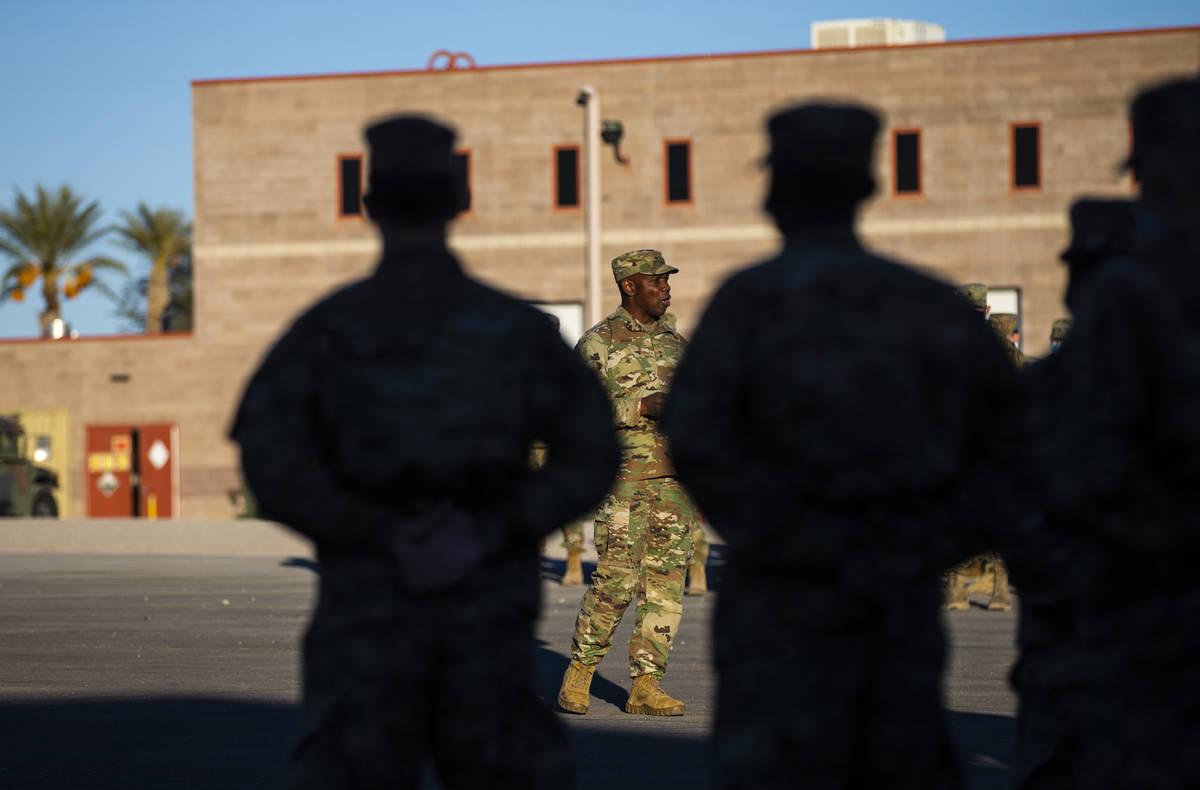 Maj. Gen. Ondra Berry addresses members of the Nevada Army Guard on Thursday, Jan. 14, 2021, as ...