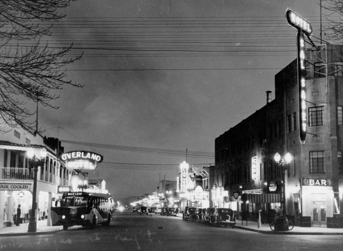 Golden Gate (then Hotel Sal Sagev) and Fremont Street in the 1940s. (Golden Gate Hotel & Ca ...