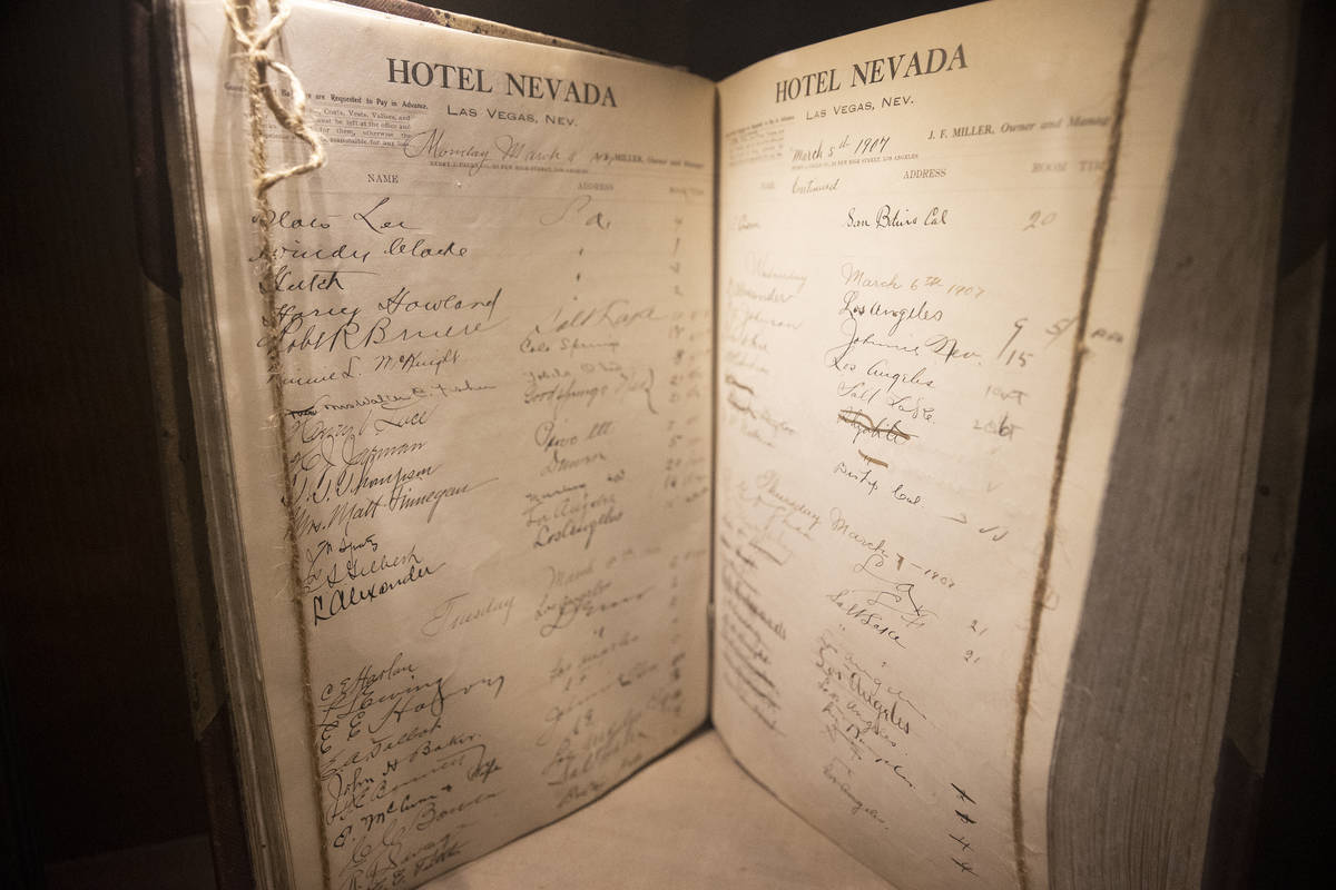 A hotel ledger from 1907 is displayed at Golden Gate hotel-casino in Las Vegas, on Friday, Jan. ...