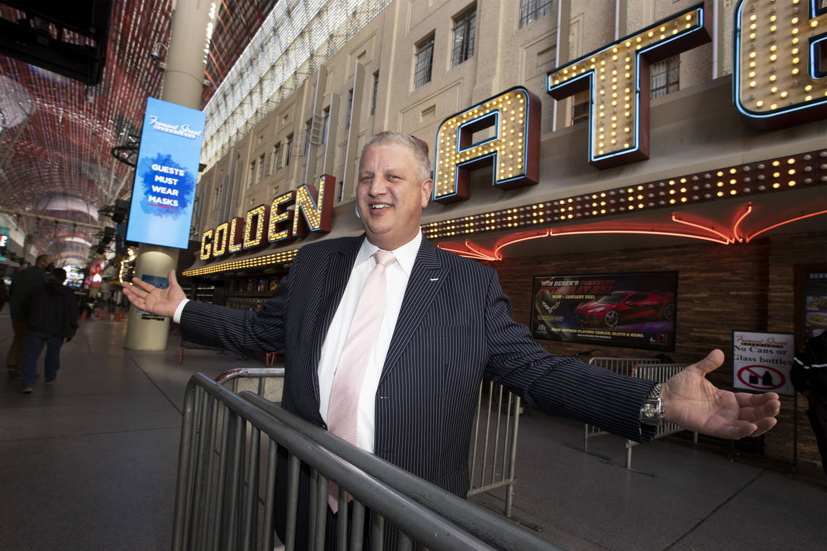 Casino owner Derek Stevens poses for a portrait in front of the Golden Gate hotel-casino in Las ...