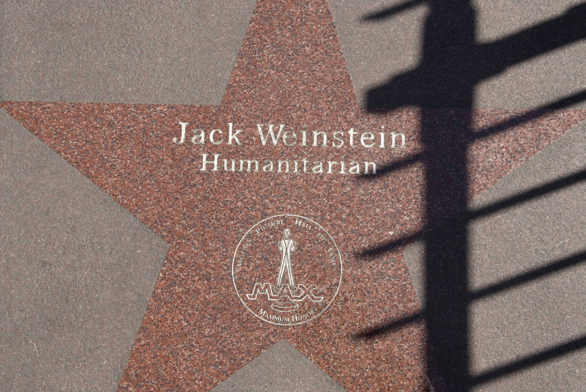 A star on the Las Vegas Walk of Stars features Jack Weinstein in front of the MGM Grand hotel-c ...