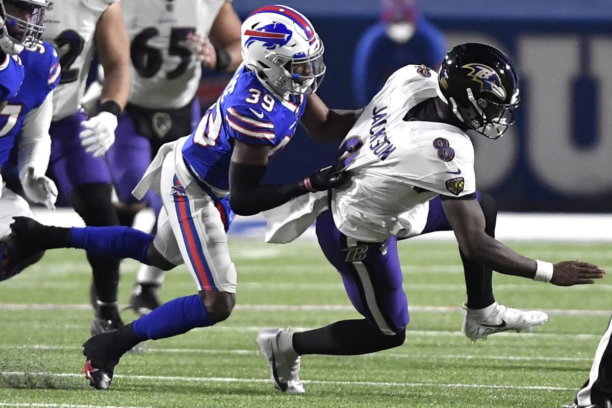 Buffalo Bills cornerback Levi Wallace (39) sacks Baltimore Ravens' Lamar Jackson (8) during the ...