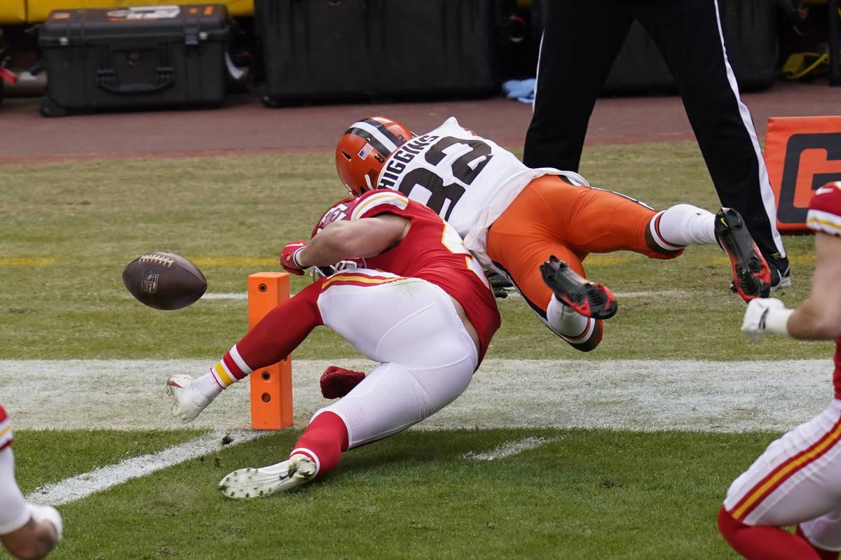 Cleveland Browns wide receiver Rashard Higgins (82) fumbles the ball over Kansas City Chiefs sa ...