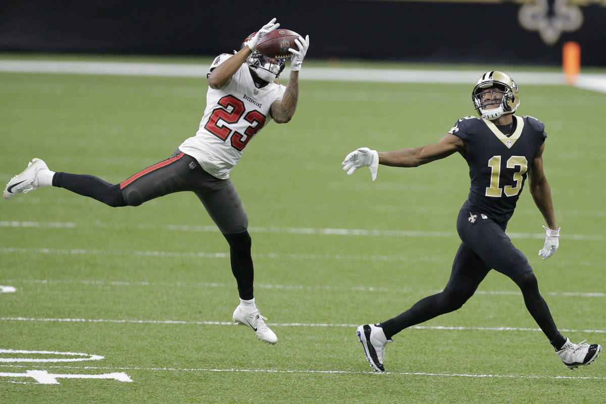 Tampa Bay Buccaneers cornerback Sean Murphy-Bunting (23) intercepts a pass intended for New Orl ...