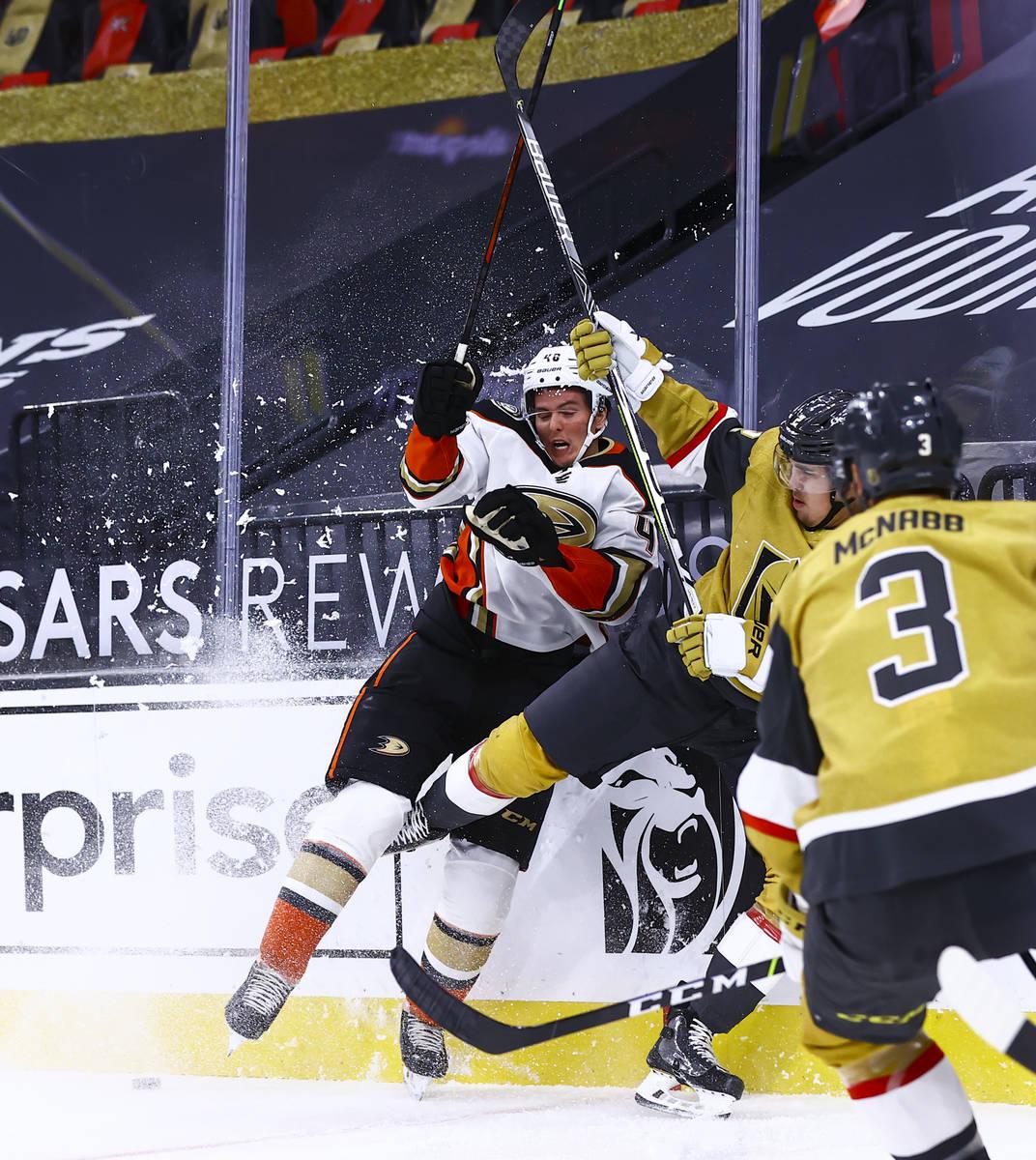 Anaheim Ducks center Isac Lundestrom (48) battles for the puck against Golden Knights defensema ...